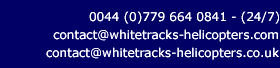 Contact Whitetracks Helicopters - contact@whitetracks-helicopters.co.uk